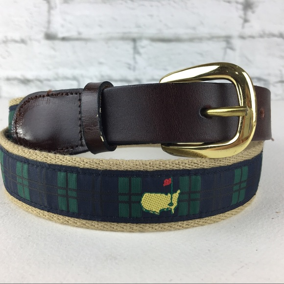 Yellow Plaid Leather Belt
